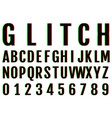 glitch fonts pack letters and numbers vector image