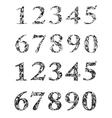 Ornate numbers with floral and foliage ornament vector image