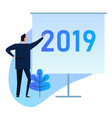 2019 businessman standing doing presentation on vector image vector image
