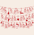 advent calendar with christmas bags set vector image