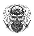 bearded and mustached miner skull vector image vector image