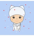 Beautiful woman in cozy winter hat with kitty ears vector image vector image
