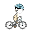 boy cartoon bicycle isolated vector image