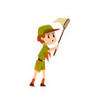 boy scout character in uniform catching vector image vector image