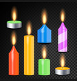 burning 3d realistic dinner candles vector image