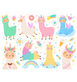 cartoon llama unicorn happy magic color llamas vector image