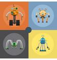 cartoon mechanical steel robots set vector image vector image