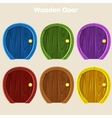 Cartoon Wooden Colorful Rounded Door For vector image vector image