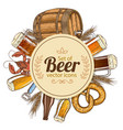 circle template with beer icons vector image vector image