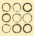 coffee stain set brown ring blots isolated on vector image