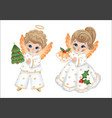 cute cartoon angels boy and girl vector image