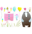 Dress and items for bear clipart set