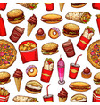 fast food snacks and desserts seamless pattern vector image