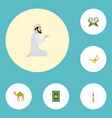 flat icons prayer carpet genie mosque and other vector image