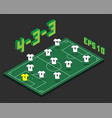 football 4-3-3 formation with isometric field vector image vector image