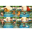 Four scenes with wild animals in the river vector image vector image