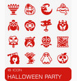 halloween party icon set vector image