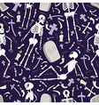 Halloween skeletons pattern 02 vector image
