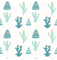 hand drawn cacti seamless repeat pattern vector image