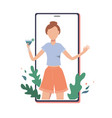 happy girl with cocktail on phone screen vector image