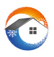 heating and cooling house symbol vector image vector image