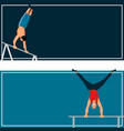 horizontal bar chin-up strong athlete man cards vector image