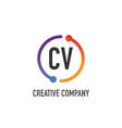 initial letter cv creative circle logo design vector image vector image