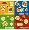 Jewish and turkish cuisine dishes set vector image vector image