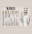 kitchen tools utensils equipment ware set knives vector image vector image