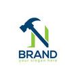 letter n hammer logo flat design vector image vector image