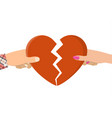 man and female holding two halves of broken heart vector image