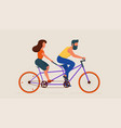 man and woman riding tandem bicycle vector image vector image