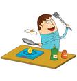Man making omlette vector image vector image