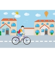 Man riding his bike on the road among buildings vector image vector image