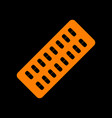 medical pills sign orange icon on black vector image vector image