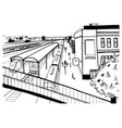 monochrome sketch top view of railway station vector image vector image