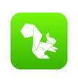 origami squirrel icon green vector image