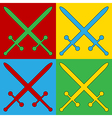 Pop art crossed swords icons vector image