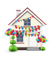realistic house with colorful flags and balloons vector image