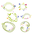 romantic set labels with flowers vector image vector image