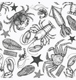 Seafood seamless pattern hand drawn seafood