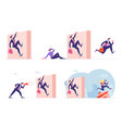set business people characters running competition vector image vector image