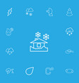 set of 13 editable climate icons line style vector image