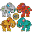 Set of 4 Indian elephants vector image