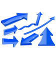 set of blue arrows 3d shiny icons vector image