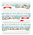 three holiday christmas banners with a winter vector image vector image