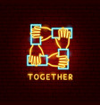 together neon label vector image
