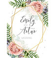 wedding invitation floral invite save the date vector image vector image