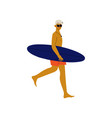 young man walking on beach with surfboard guy vector image vector image
