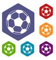 soccer ball icons set vector image